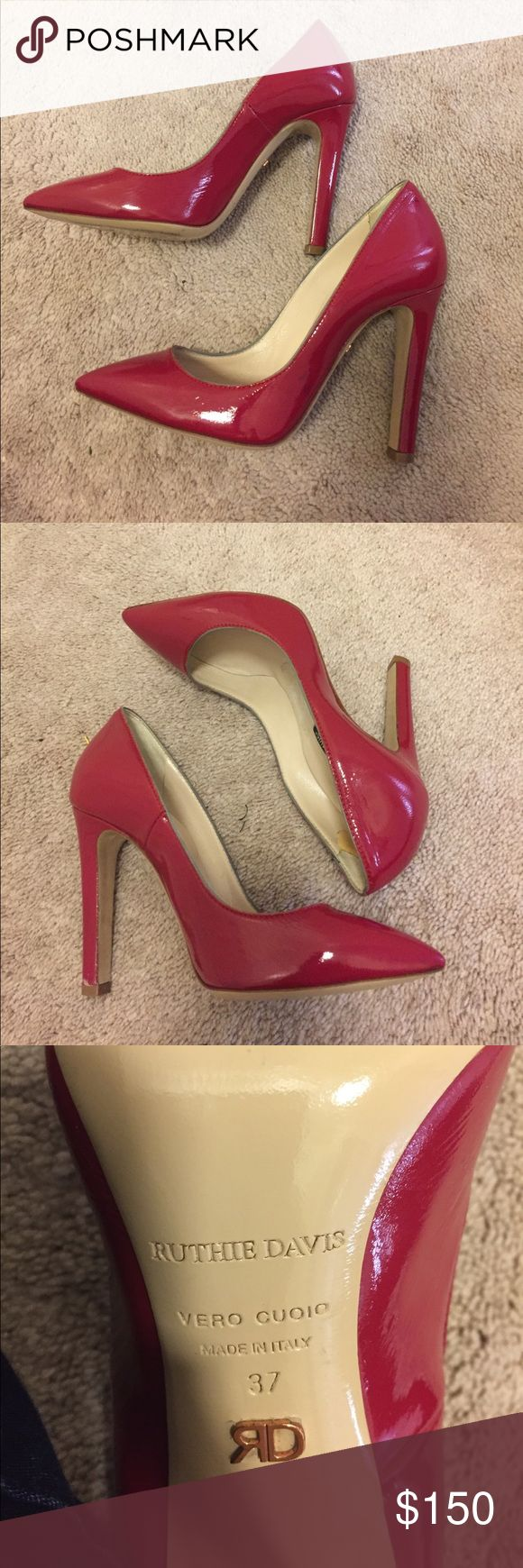 Ruthie Davis heels Red patent leather Ruthie Davis high heels.   Size 37,  but run small Ruthie Davis Shoes Heels