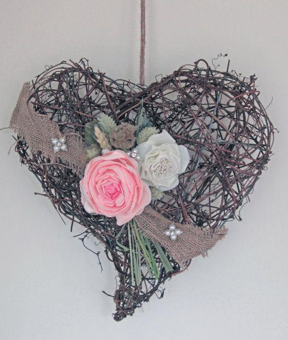 Peony wicker heart by FoxgloveFlowers on Etsy, £15.00