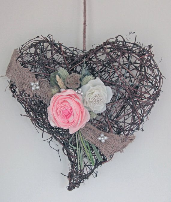 Peony wicker heart by FoxgloveFlowers on Etsy, made to order items from www.foxgloveflowers.co.uk @Etsy