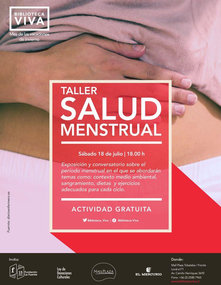 Sábado 18 | 18.00 TALLER: SALUD MENSTRUAL  Exposición y conversatorio sobre el período menstrual en el que se abordarán temas como: contexto medio ambiental, sangramiento, dietas y ejercicios adecuados para cada ciclo.