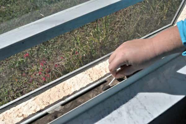 Utilisez du vinaigre blanc, du bicarbonate et des Coton-Tige pour nettoyer vos rails de fenêtre.