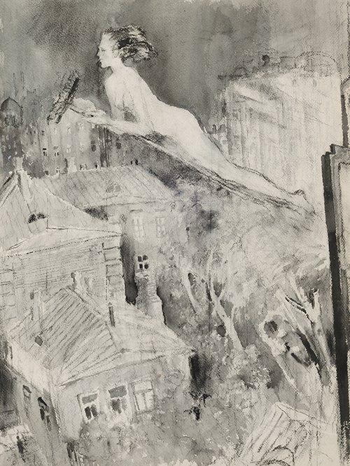 Margarita on the broom - Artist: Yuri Ivanovich Pimenov, Moscow, Russian Federation - 1977