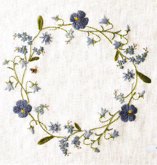 blue flower wreath - would be good with initial in the center for a sachet.