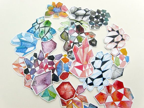 Colorful Gemstones Sticker Set  Geometric watercolor by #Kalatirth