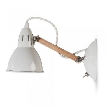 This eye catching garden trading bermondsey wall light lamp in oak chalk is a perfect blend of industrial style and elegance view it at hurn and hurn