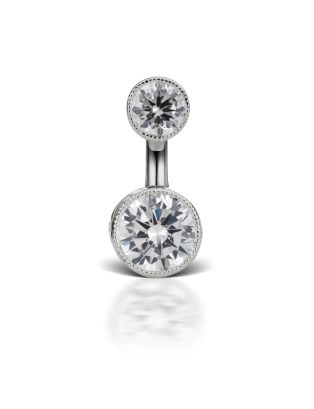 4-6 Cubic Zirconia Engraved Cup Solitaire Barbell Image #1