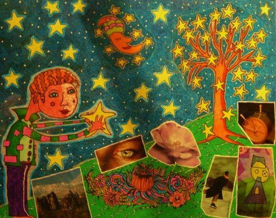 """""""L'acchiappastelle"""" manifesto della Notte Bianca a Corridonia (MC) 50x60 tecnica mista"""