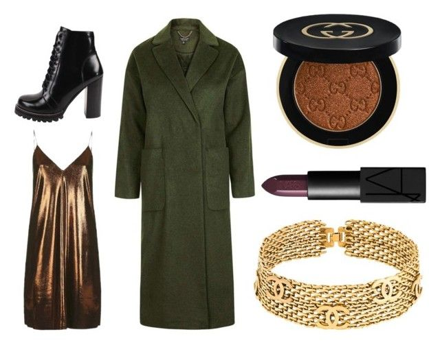 Khaki coat/chocolate dress by lazygadabout on Polyvore featuring moda, Topshop, Jeffrey Campbell, Chanel, NARS Cosmetics and Gucci