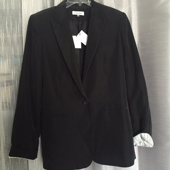 Listing! NWT Calvin Klein Black 1 Button Blazer NWT Calvin Klein black one button blazer. Modern Essentials collection. Approximately 27 inches total length, 18 inches armpit to armpit, 18 inches armpit to end of sleeve. Material shell: 70% modal, 30% polyester; lining 100% polyester Calvin Klein Jackets & Coats Blazers