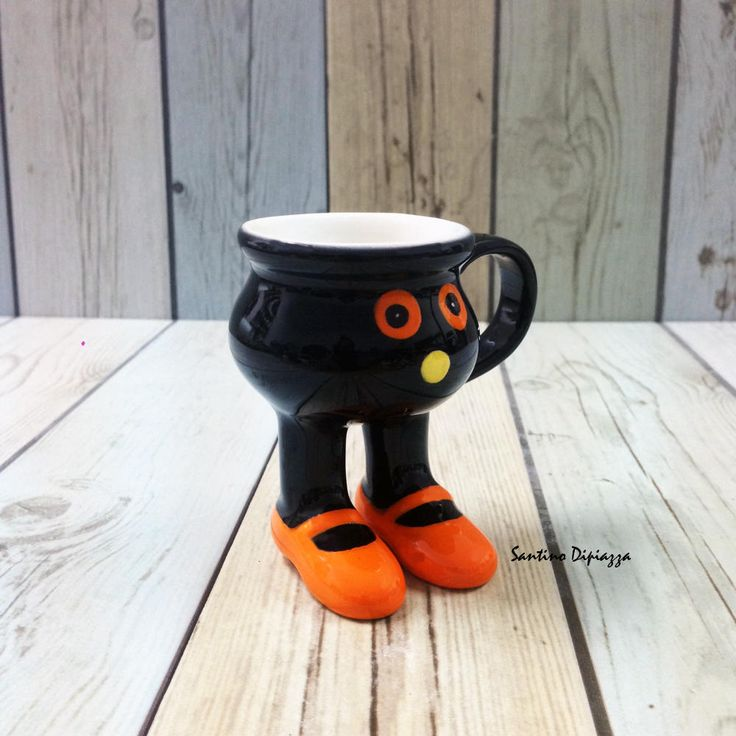 Boo Halloween Espresso Cup, Handmade Italian Cup, Walking Pottery, Novelty Wares, Black Porcelain, Footed Pedestal, Cups On Legs, Ceramics by WalkingPottery on Etsy