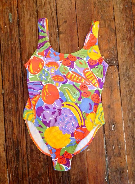KEN DONE. One piece bathing suit. Small. Xsmall. Low back. Rare. Artist textile. 80s. 90s