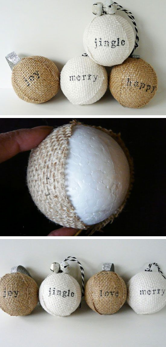 Stamped Burlap Ornaments | Click Pic for 20 DIY Christmas Tree Decorations to Make | Cheap Christmas Tree Decorating Ideas Dollar Stores