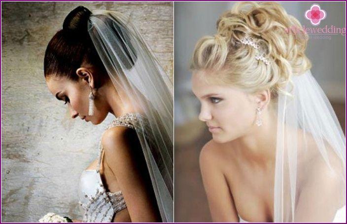 Bröllop frisyrer för långt hår slöja och tiara, lugg
