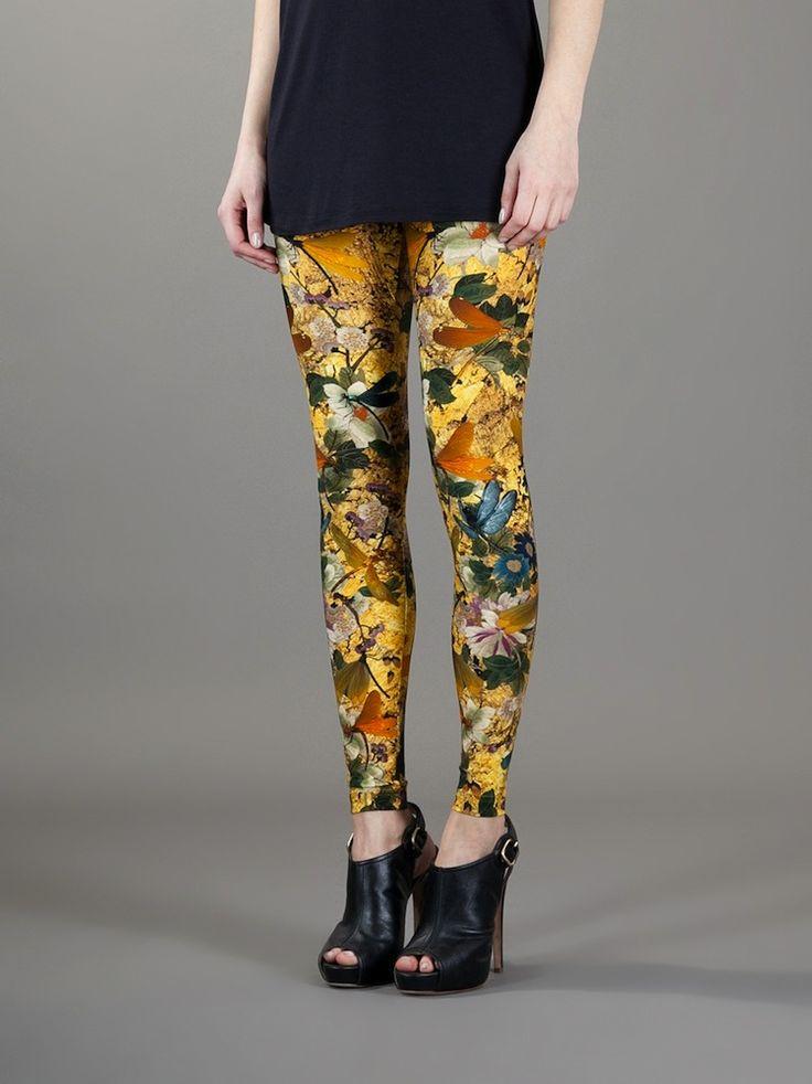 McQueen Printed Yellow/Gray Dragonfly Print Leggings