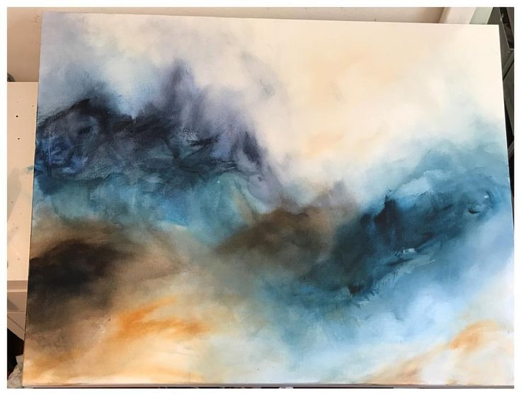 Stormy Day: Work in Progress Abstract acrylic on Canvas. Experimenting some new styles.