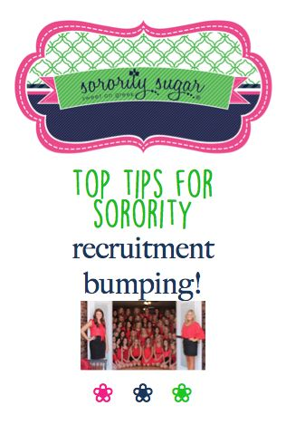 "Maximize your recruitment rounds with an organized system of ""bump groups."" sorority sugar has many helpful tips for effective PNM rotations! <3 BLOG LINK: http://sororitysugar.tumblr.com/post/121778287044/top-tips-for-recruitment-bumping#notes"