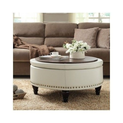 Tufted Sofa Round Bassett Ottoman Bonded Leather Storage Sofa Couch Footstool Coffee Table