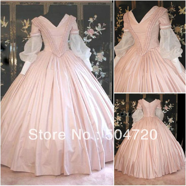 Freeshipping!19 Century Pink Civil War Southern Belle Gown evening Dress/Victorian Lolita dresses/scarlett dress US6-26 V-302 $139.00