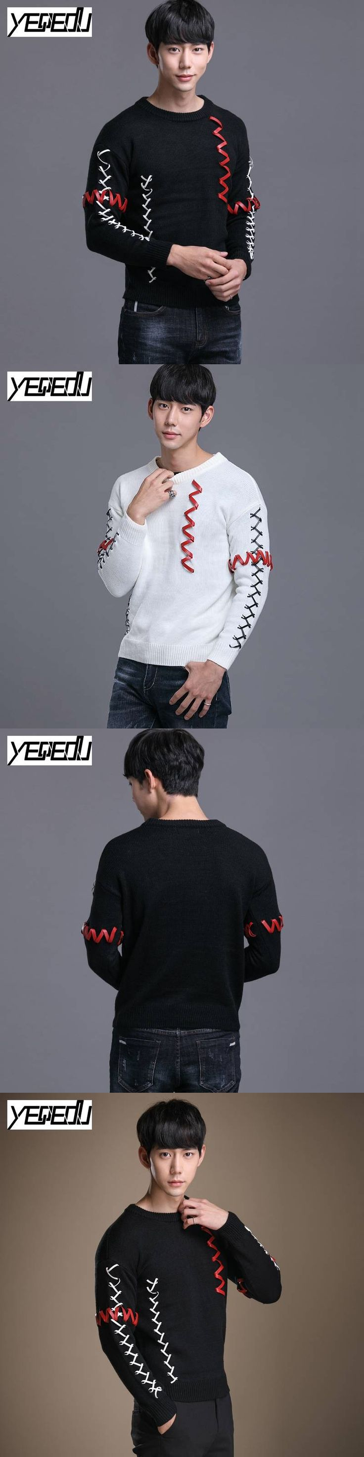 #1920 Winter Black/white sweater men Bandage England style High street Ribbons Knitted sweater Pullover Pull homme Mens jumpers