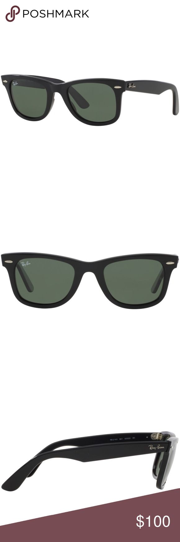 🕶Ray Ban Wayfarer 2140 sunglasses Ray Ban Wayfarer 2140 sunglasses.  Black acetate frames, gray lenses.  The distinct shape is paired with the traditional Ray Ban logo on the temples.  Worn once, mint condition.  Without case. Ray-Ban Accessories Sunglasses