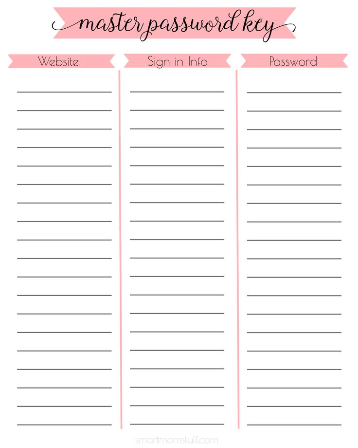 Best 25+ Password printable ideas on Pinterest Bill organization - sign out sheet template