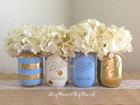 Baby Blue And Gold Mason Jar Centerpieces, Baby Shower Mason Jars, Mason Jar  Decor, Painted Ball Jars, Gold Polka Dots, Blue Stripes