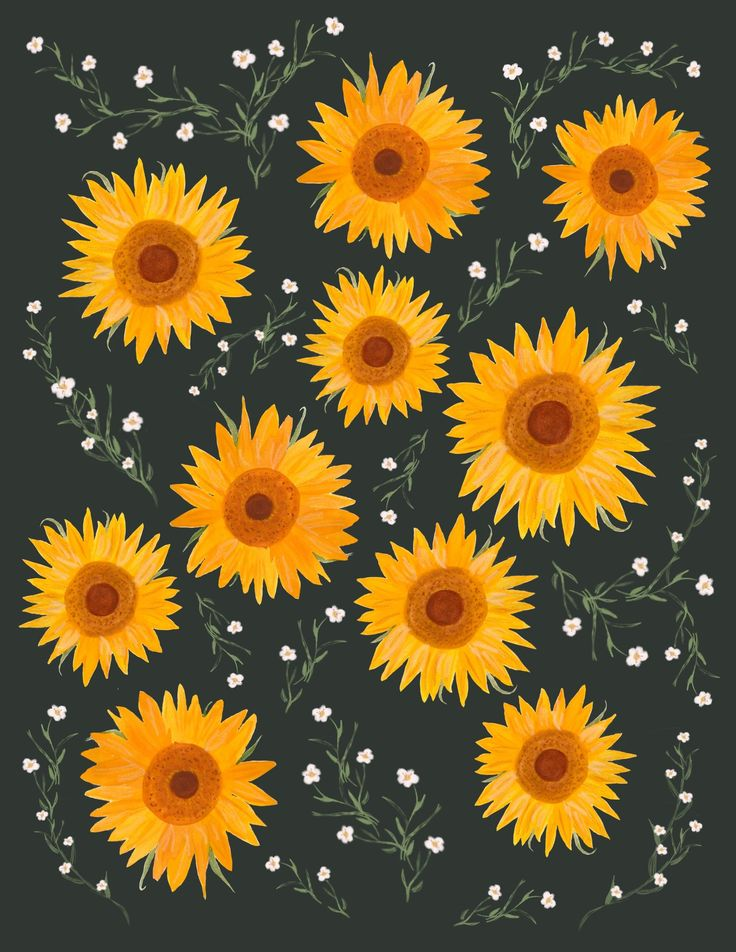 Sunflowers | Sunflowers background, Sunflower drawing ...