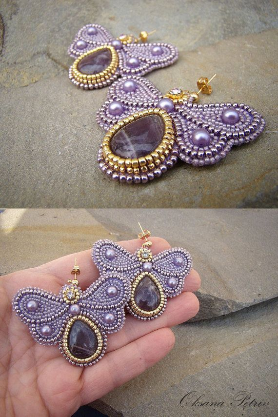 Light lavender butterfly beaded earrings bead by OPGDesign on Etsy