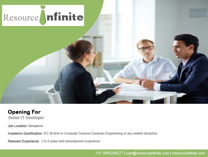 #‎resourceinfinite‬ ‪#‎jobs‬ ‪#‎news‬ A software development company is looking for #BE/#BTech in #ComputerScience or related disciplines for the role of #SeniorITDeveloper in #Bangalore. If you have experience in backend MVC frameworks, an upper hand in Web Technologies (HTML, CSS, Ajax etc) and proficiency in at least one of Python, Ruby or Java then visit Resource Infinite for details. For assistance, contact us at +91 9999248527