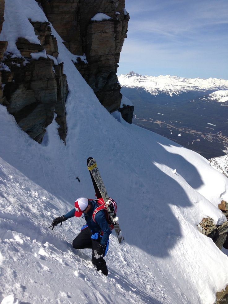 Peter on the way up the aemmer couloir on Mount Temple