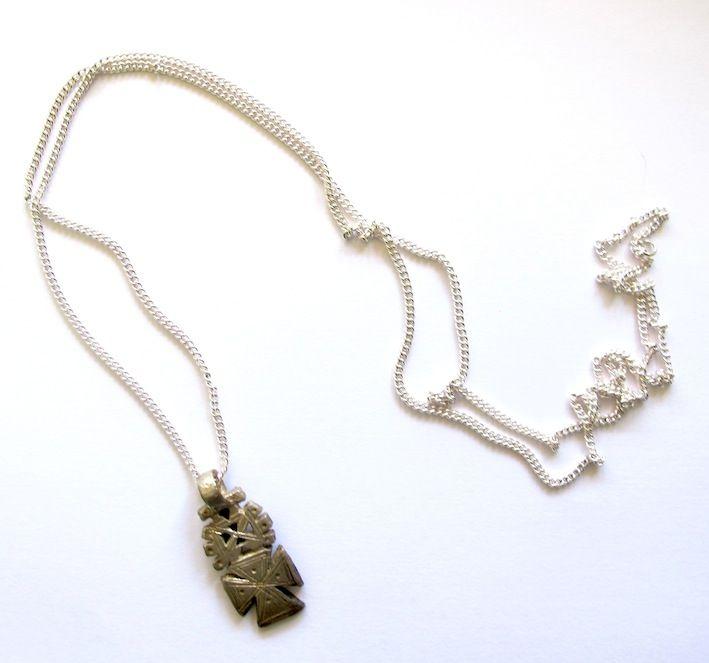Ethiopian coptic pendant on silver plated chain