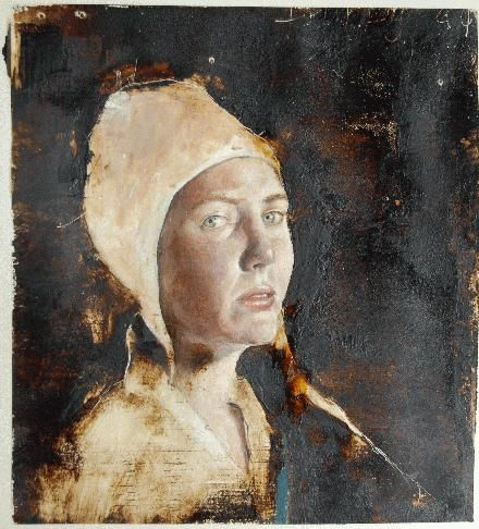 Sarah Atkinson (painting with tar and beeswax) Like encaustic beeswax, I wonder? And tar? Those paintings must be STICKY.: