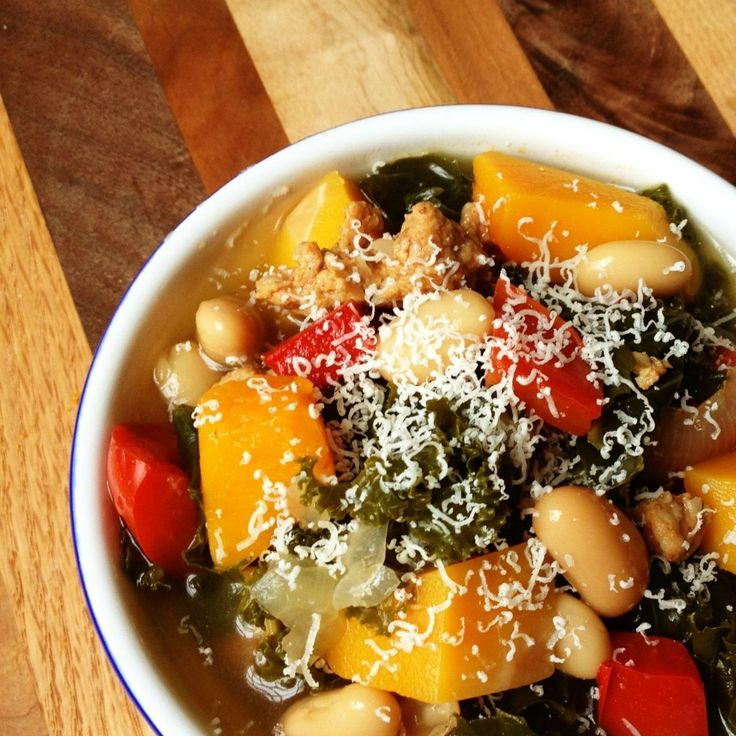 Hearty Sausage, Kale and Butternut Squash Soup
