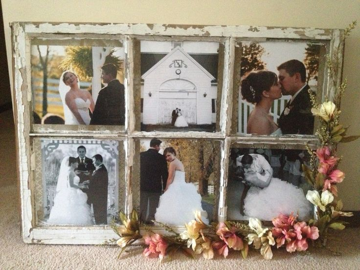 Old window with lace and flowers as a wedding venue decoration. Then added pics from wedding as a frame! #wedding pictures #country wedding #rustic wedding