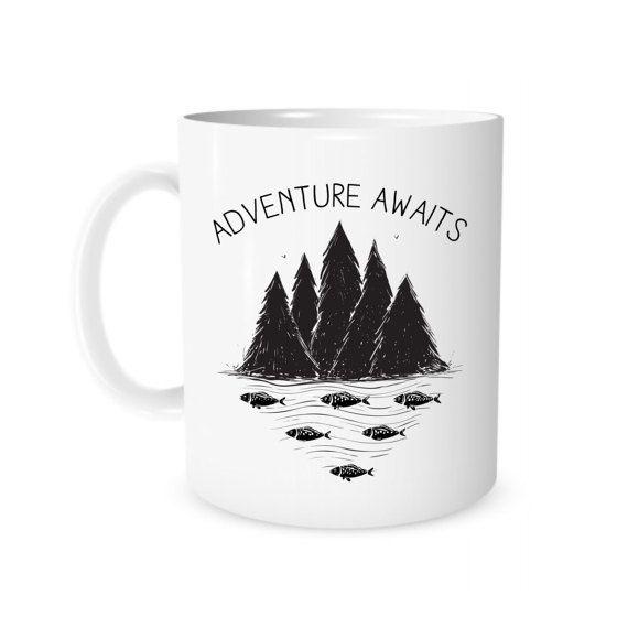 Travel Mug, Camping Mug, Adventure Awaits, Girlfriend Gift, Boyfriend Anniversary Gift, Camping Gift, Outdoor Gift, Mountains Coffee Mug