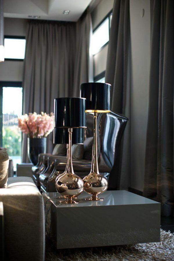 Beautiful vorh nge dunkel designer m bel stehlampen