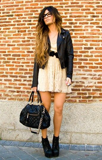 : Outfits, Fashion, Style, Ombre Hair, Clothing, Marc Jacobs, Jeffrey Campbell, Leather Jackets, Lace Dresses