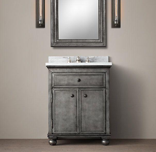 Yes Restoration Hardware Zinc Powder Room Vanity Sink And Carrara Marble House Renos