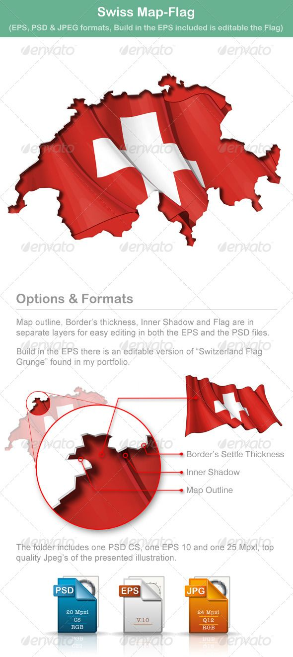 Swiss Map-Flag  #GraphicRiver         … map cut-out with a waving … flag