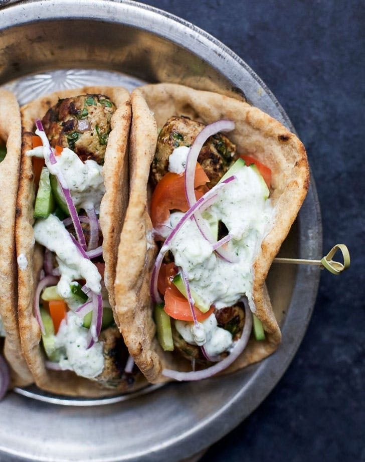Greek turkey meatball gyros. Find out how to make them tonight.