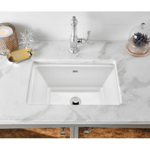 "American Standard 0483.000 Estate 19-3/4"" Undermount Fireclay Bathroom Sink with Linen Fixture Lavatory Sink Fireclay"