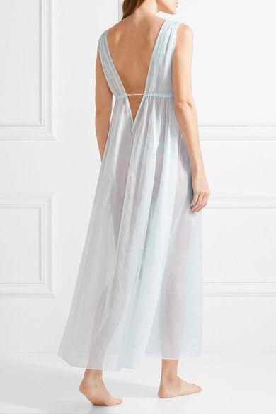 Three Graces London - Octavia Cotton-voile Nightdress - Sky blue - UK10