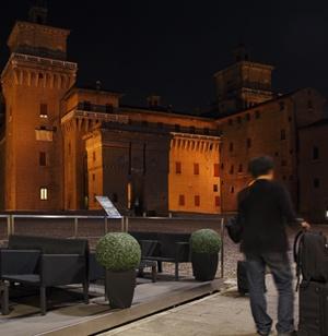 dehors just in front of Estense castle