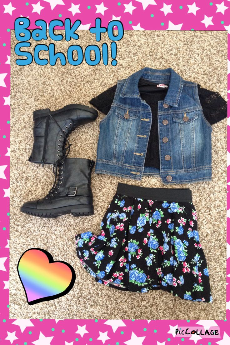 Little girl back to school outfit. Little fashionista. Little girl style. Little girl fashion. Stylish little kid. Combat boots, floral skirt, lace top, and jean vest.