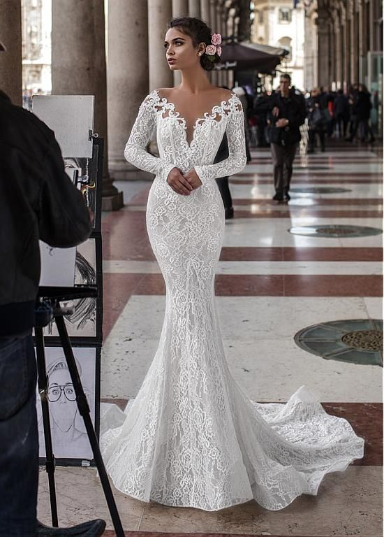Magbridal Delicate Tulle & Lace Jewel Neckline Mermaid Wedding Dresses With Bead…