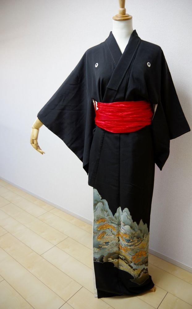 Kimono Dress Japan Japanese kimono Tomesode Geisha costume Vintage  KDJM-A0036