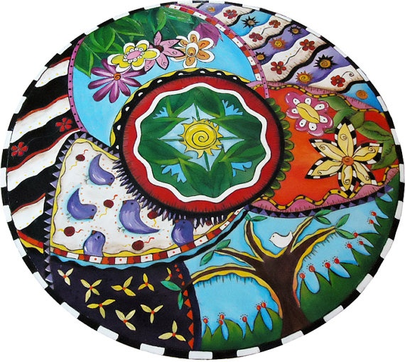 Hand Painted Lazy Susan Wood large 24inch by spfdesign on Etsy, $345.00