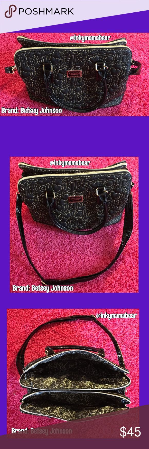 Large Betsey Johnson Purse w. her name all over! Large Betsey Johnson purse with her name stitched across the side, extension strap included and tons of really cool pocket space inside. Very, very clean...hardly used at all. This bag is like new just without the tags. NO OFFERS, all will be denied. Betsey Johnson Bags
