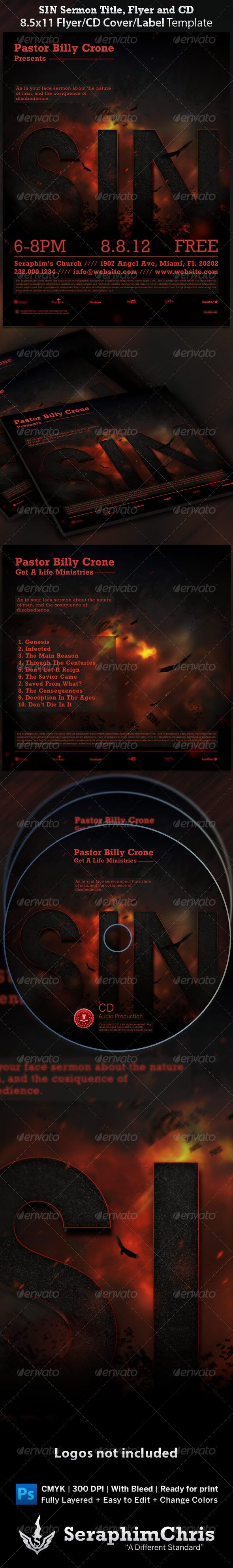 17 best images about print templates the flyer sin sermon title flyer and cd cover template