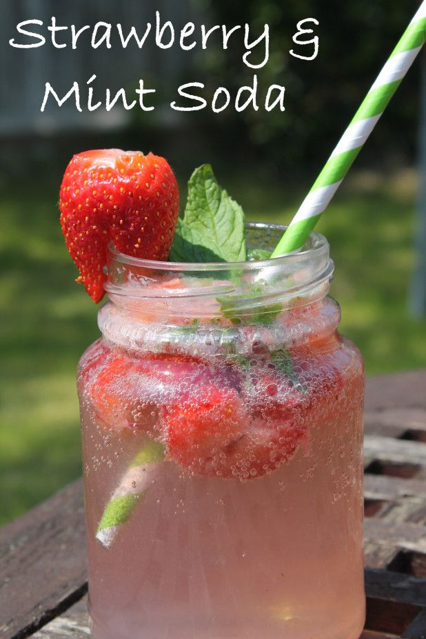 strawberry and mint sparkling water drink recipe - a glass of sparkling or soda water;  5 strawberries (the riper the better); 5 fresh mint leaves; 1tsp sugar (optional or you could use Stevia, etc.); ice